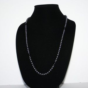 Hematite and black beaded necklace 31""